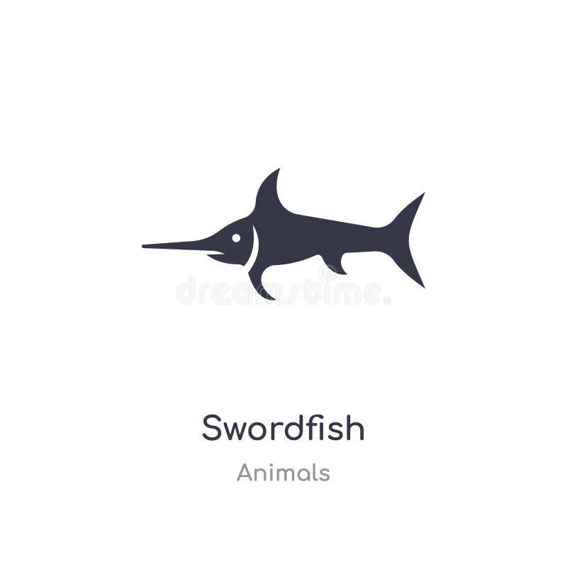 Zwaardvissenpictogram de geïsoleerde vectorillustratie van het zwaardvissenpictogram van diereninzameling editable zing symbool k stock illustratie