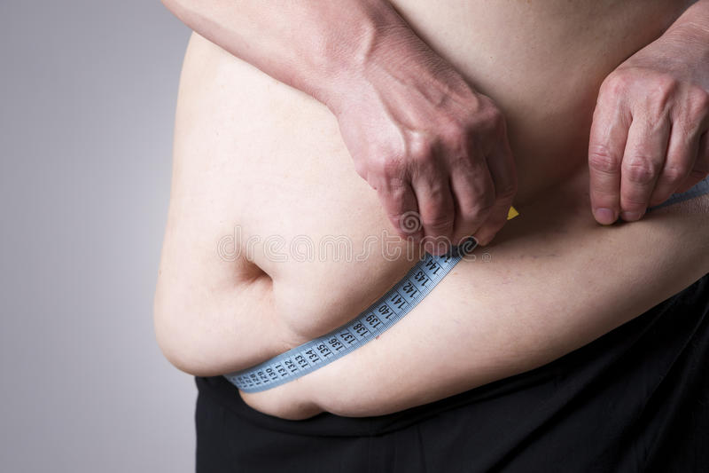 Zwaarlijvigheids vrouwelijk lichaam, vette vrouw met het meten van band stock afbeelding