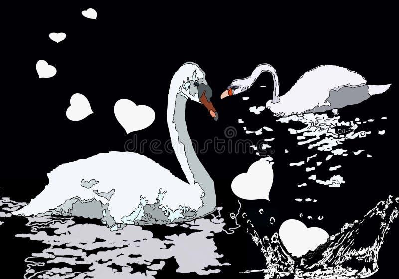 Zwanen die in het meer met harten zwemmen royalty-vrije illustratie
