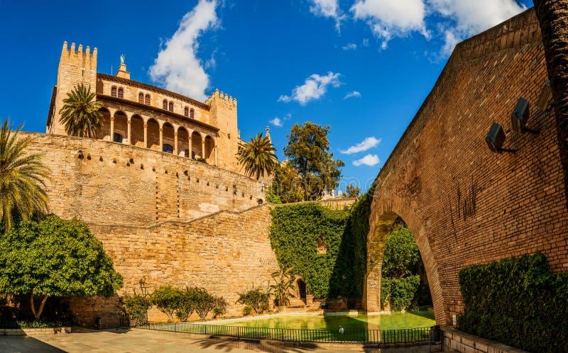 Zwanen in een vijver dichtbij Royal Palace in Palma, Spanje stock foto's
