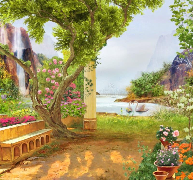 Zwanen op een bergmeer, kleurrijke tuin royalty-vrije stock foto's