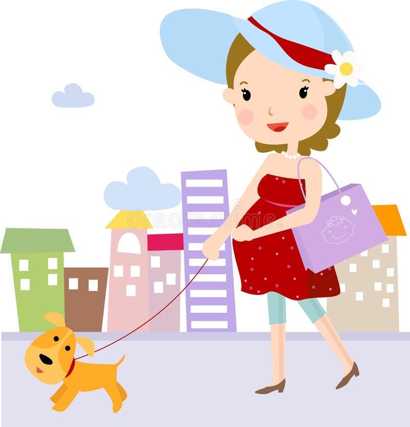 Zwanger en hond stock illustratie