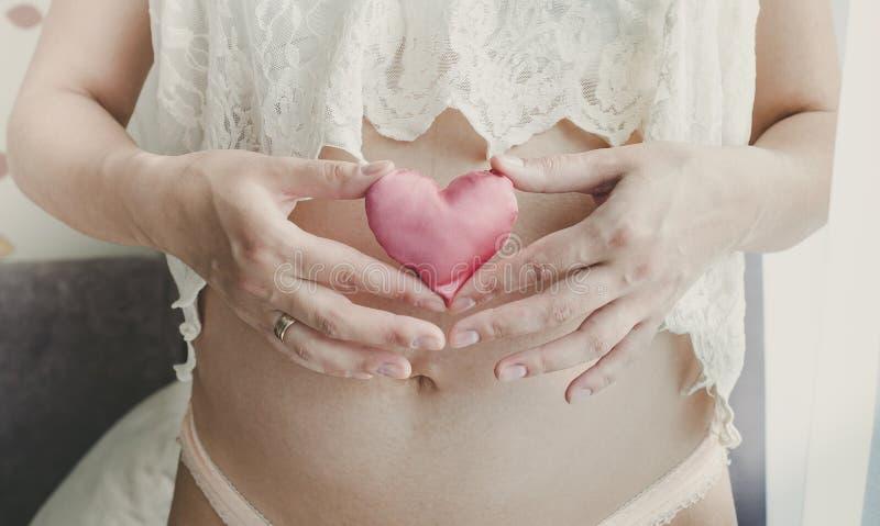 Zwanger het stuk speelgoed van de vrouwenholding hart in haar handen Geïsoleerd op Wit stock fotografie