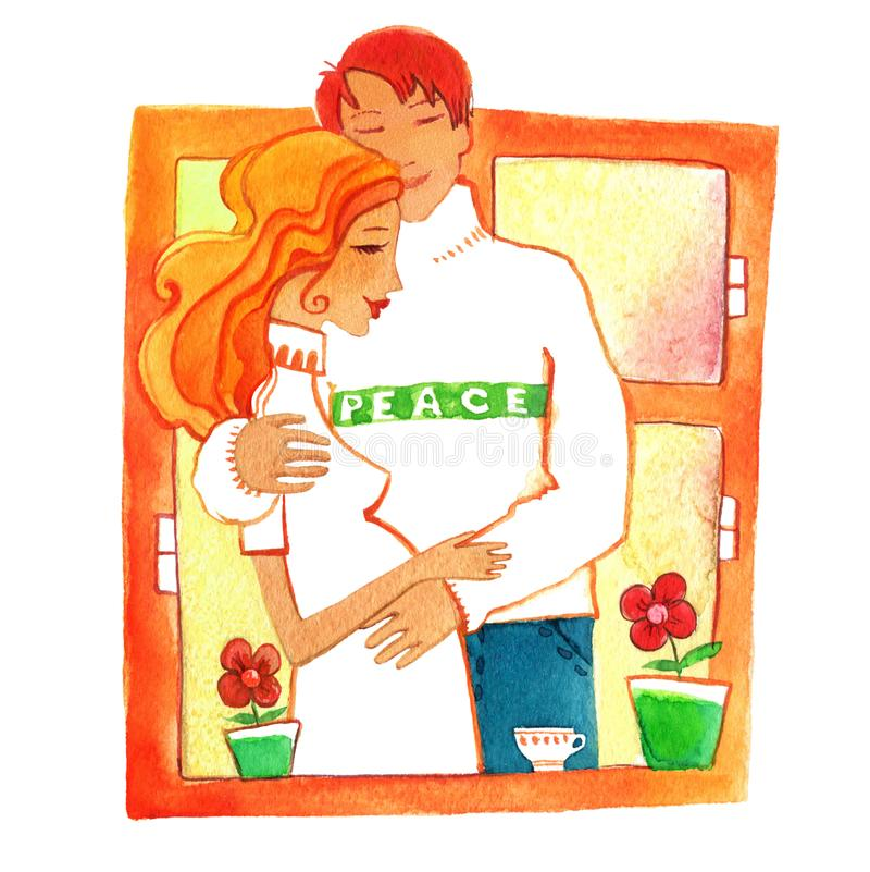 Zwanger, Man en zwangere vrouw vector illustratie