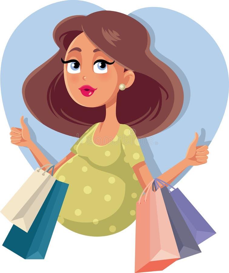 Zwanger Meisje met het Winkelen Zakken Vectorillustratie vector illustratie