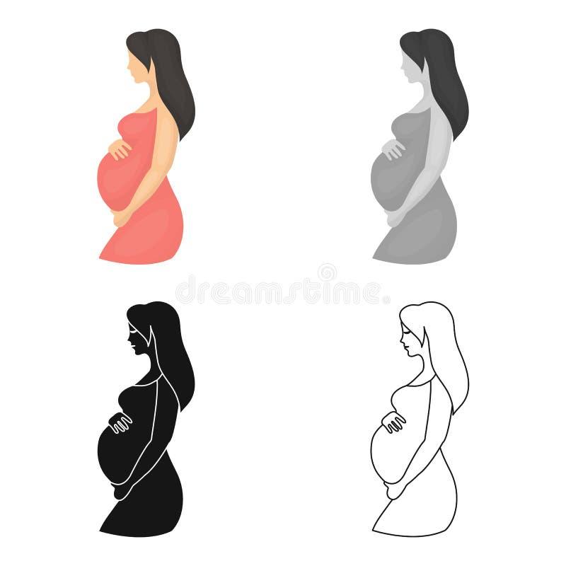 Zwanger pictogram in beeldverhaalstijl op witte achtergrond De voorraad vectorillustratie van het zwangerschapssymbool vector illustratie