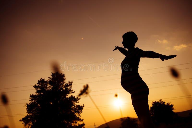 Zwanger silhouet stock afbeeldingen