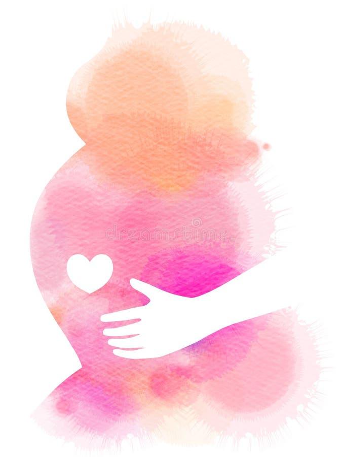 Zwanger vrouwensilhouet plus abstracte waterverf Digitaal art vector illustratie