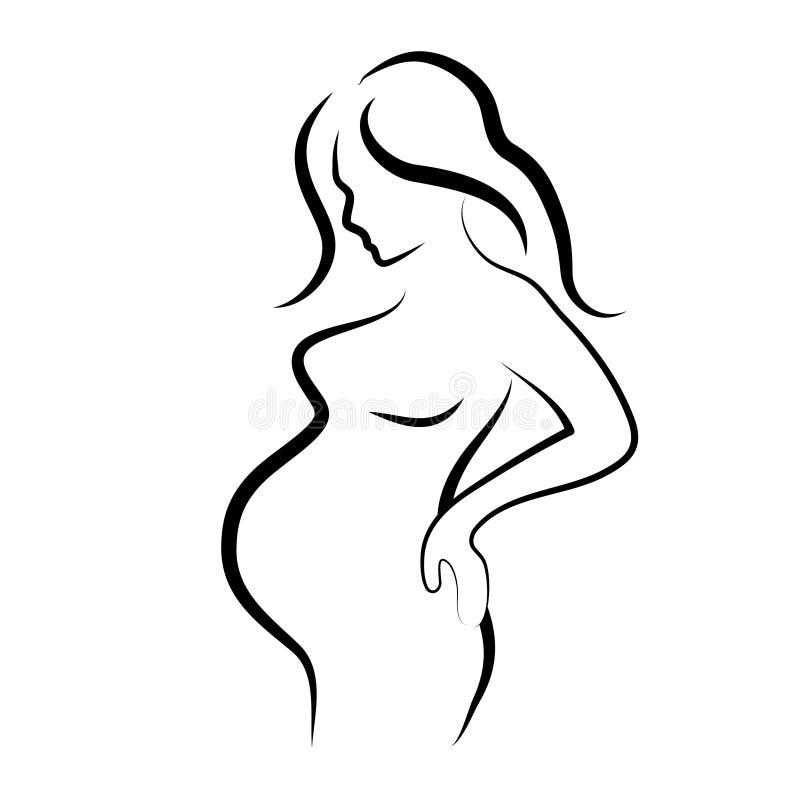 Zwanger vrouwensilhouet, vectorsymbool stock illustratie