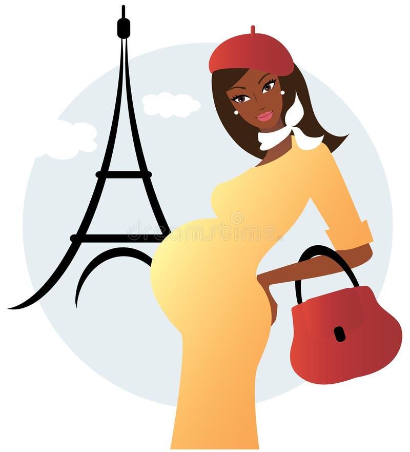 Zwangere Afrikaanse Amerikaanse vrouw in Parijs royalty-vrije illustratie