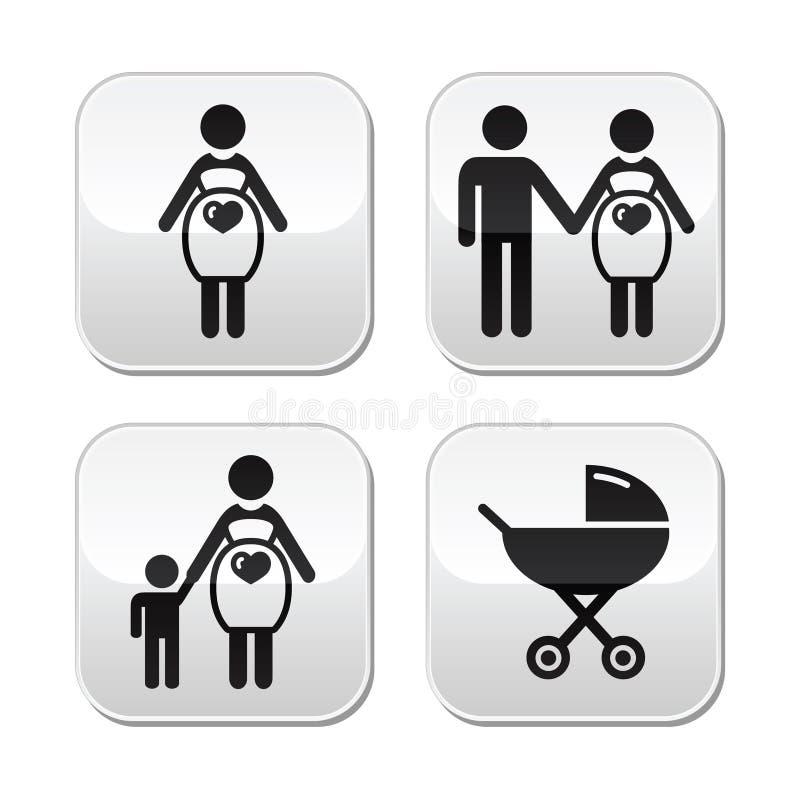 Zwangere geplaatste vrouwenknopen royalty-vrije illustratie