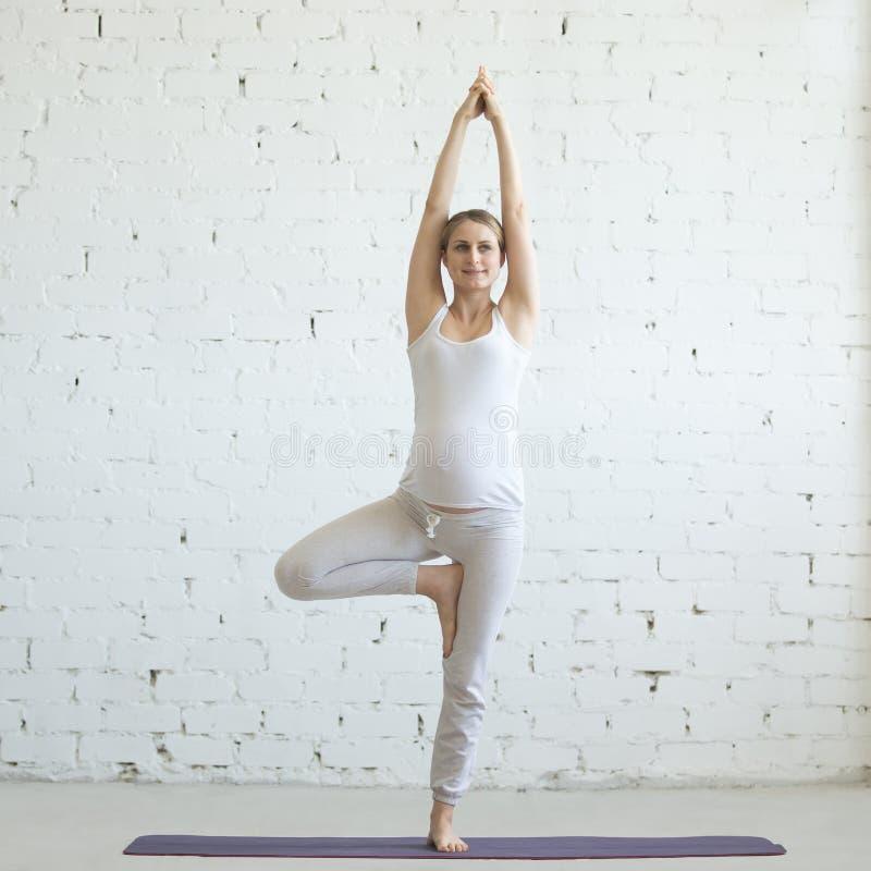 Zwangere jonge vrouw die prenatale yoga doen Vrksasana stelt stock foto's