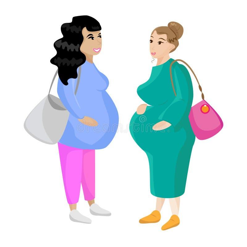 Zwangere Jonge Vrouwen Zwangere meisjes Prenatale periode in vrouwen stock illustratie