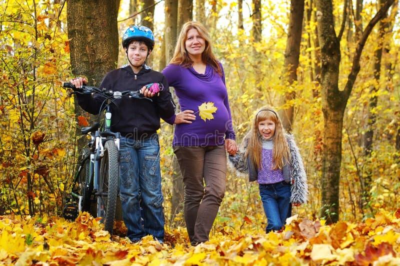 Zwangere moeder die in het park met haar zoon en dochter lopen stock fotografie