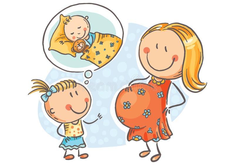 Zwangere moeder en weinig dochter die over de toekomstige baby, vectorillustratie spreken vector illustratie