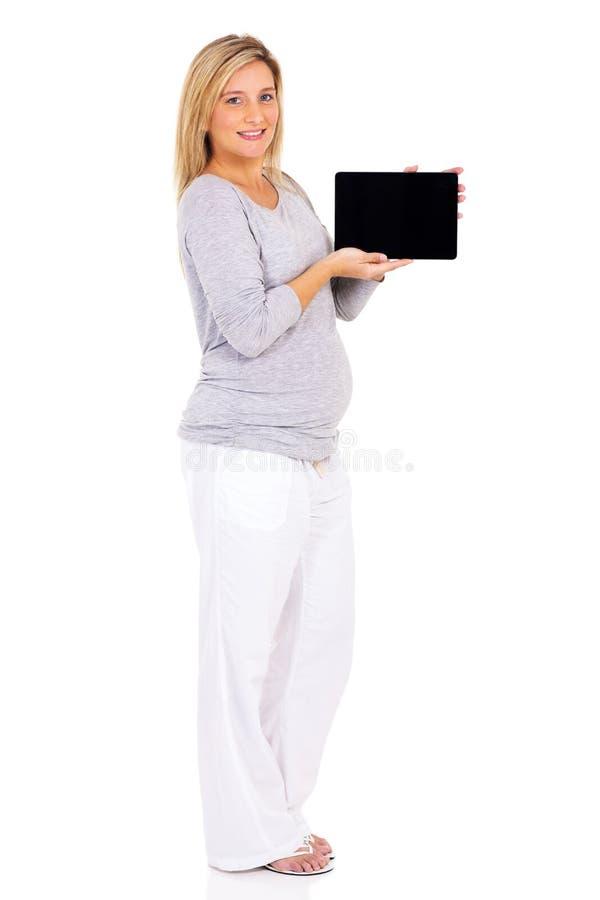 Zwangere PC van de vrouwenTablet royalty-vrije stock fotografie