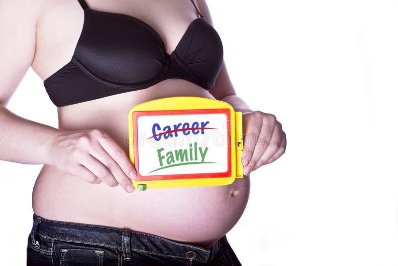 Zwangere Tekenfamilie royalty-vrije stock afbeeldingen