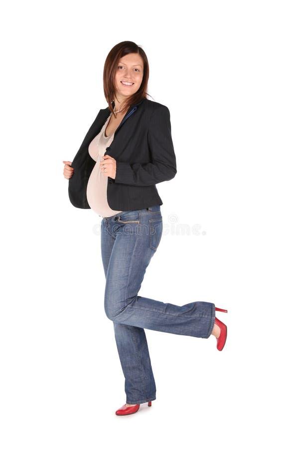 Zwangere volledige lichaamsvrouw stock foto's