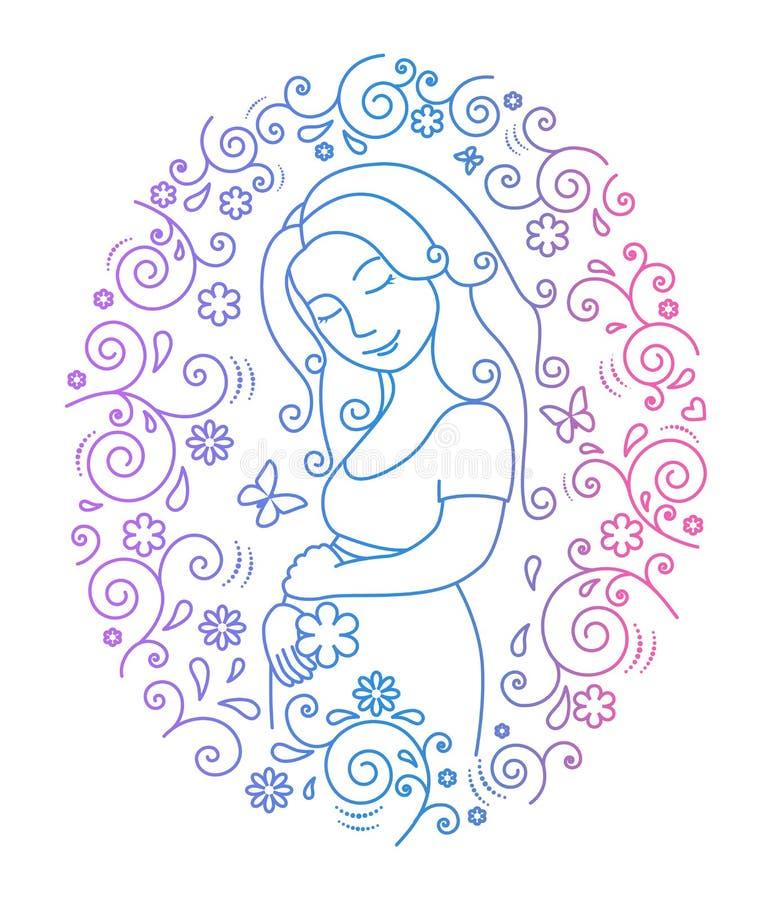 Zwangere vrouw binnen rond kader stock illustratie