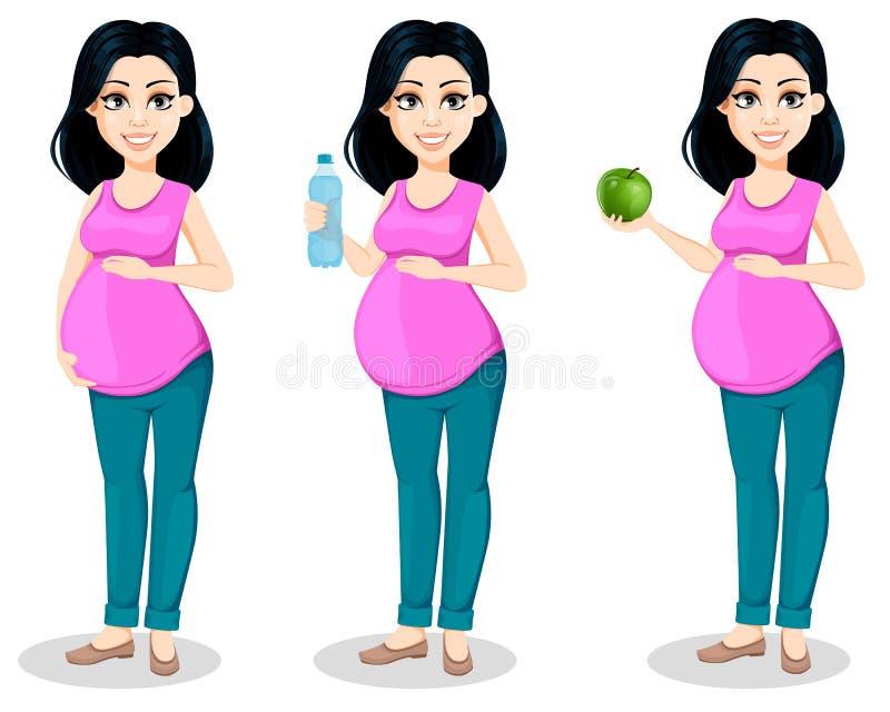 Zwangere vrouw De mooie dame treft een moeder te zijn voorbereidingen royalty-vrije illustratie
