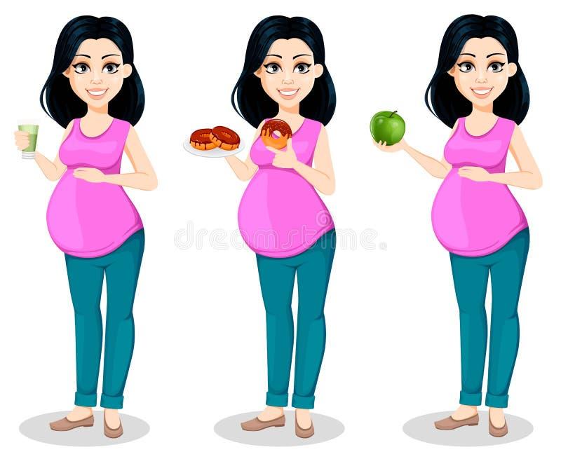 Zwangere vrouw De mooie dame treft een moeder te zijn voorbereidingen, stelt de reeks van drie royalty-vrije illustratie