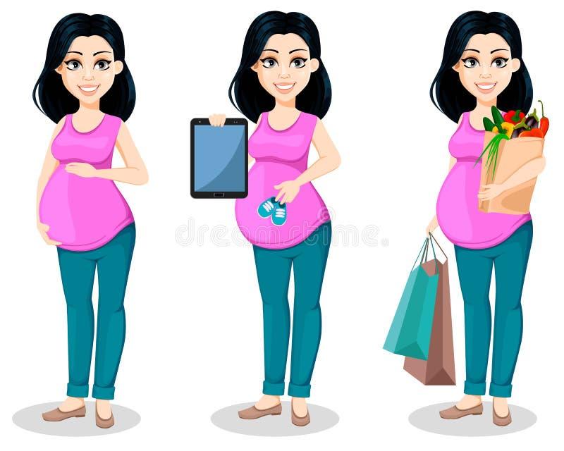 Zwangere vrouw De mooie dame treft een moeder te zijn voorbereidingen, stelt de reeks van drie vector illustratie
