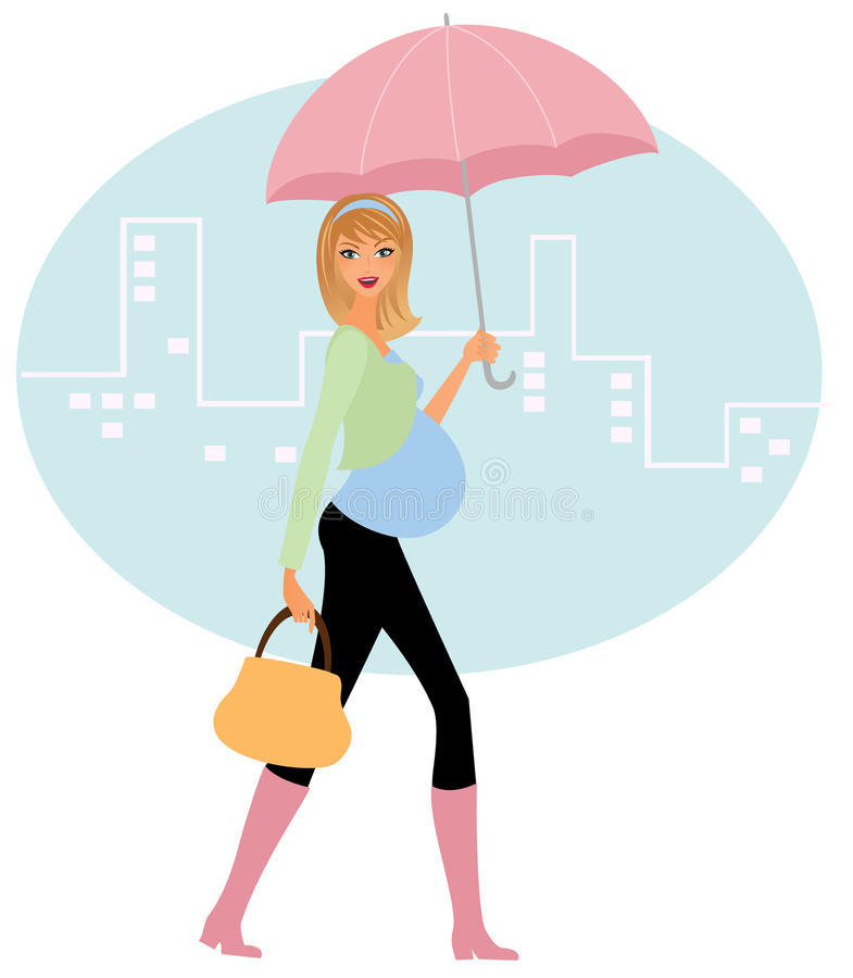Zwangere vrouw in de regen stock illustratie