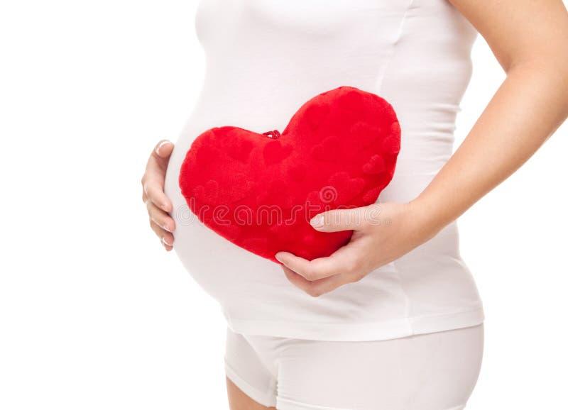 Zwangere vrouw die een hart houden stock foto