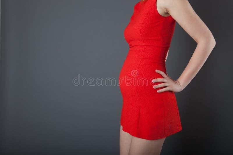 Zwangere vrouw die haar buik toont stock foto