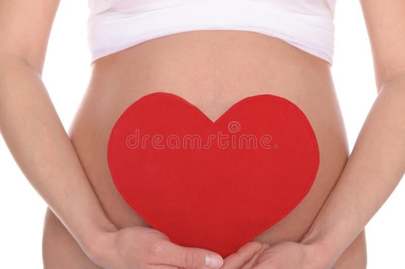 Zwangere vrouw die rood hart houdt stock foto's