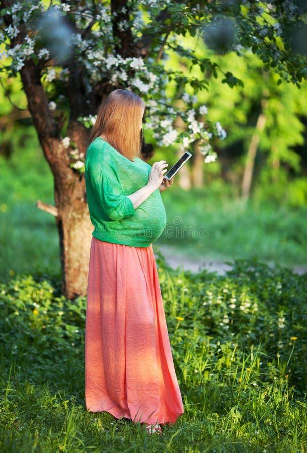 Zwangere vrouw die tabletpc in groen park met behulp van stock foto's