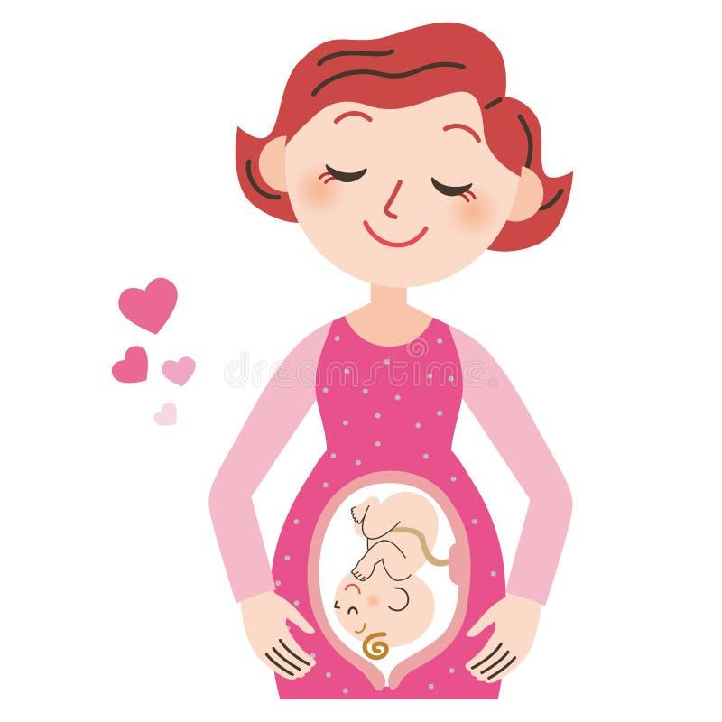 Zwangere vrouw en baby stock illustratie