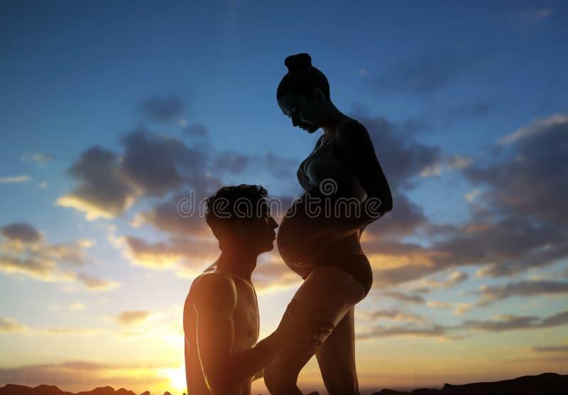 Zwangere vrouw en haar echtgenoot royalty-vrije stock afbeelding