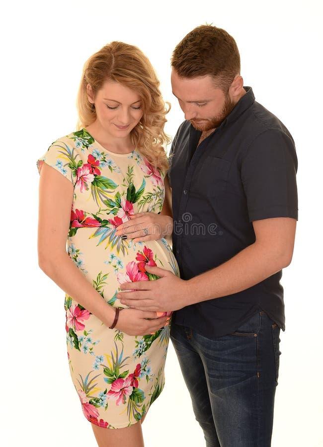 Zwangere vrouw en man royalty-vrije stock afbeelding