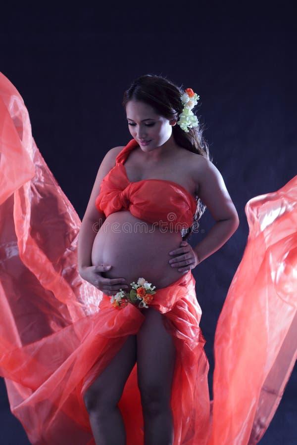 Zwangere vrouw met een rode kleding. royalty-vrije stock foto's