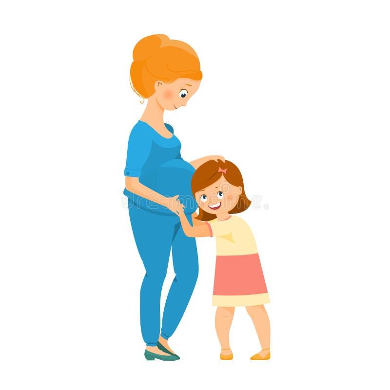 Zwangere vrouw met haar dochter stock illustratie