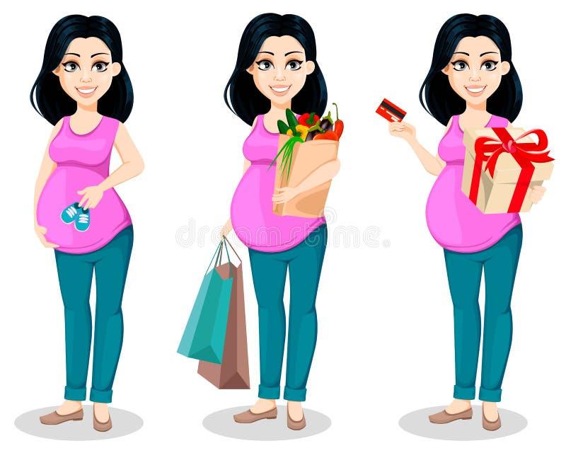 Zwangere vrouw Mooie ladyPregnant vrouw De mooie dame treft een moeder te zijn voorbereidingen, stelt de reeks van drie stock illustratie