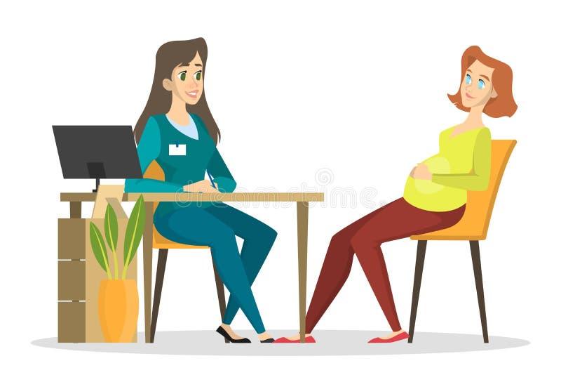 Zwangere vrouw op een overleg met een arts Zwangerschap vector illustratie
