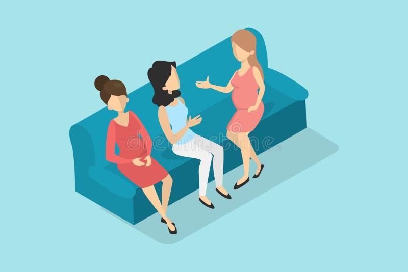 Zwangere vrouwen die op de laag in het wachten zaal zitten royalty-vrije illustratie