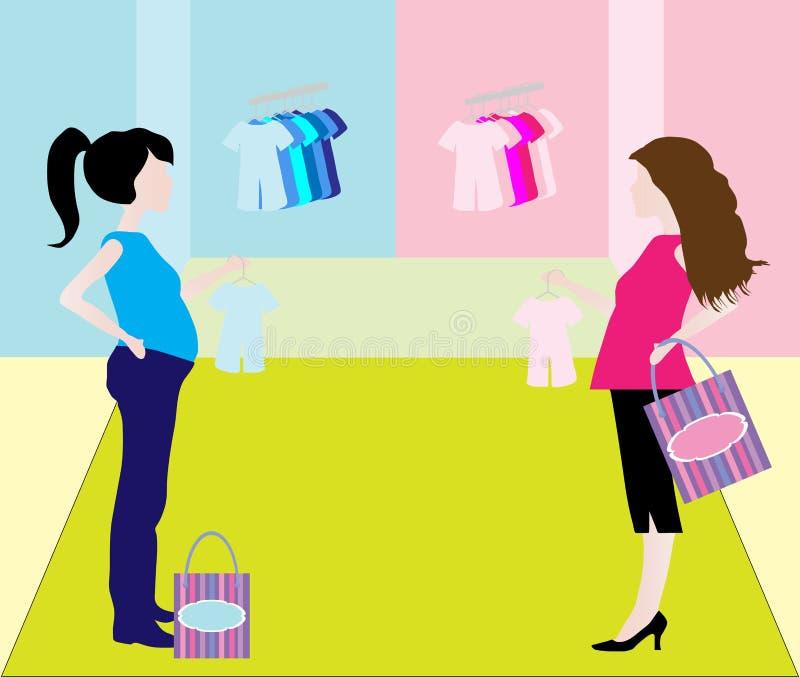 Zwangere Winkelende Vrouw vector illustratie
