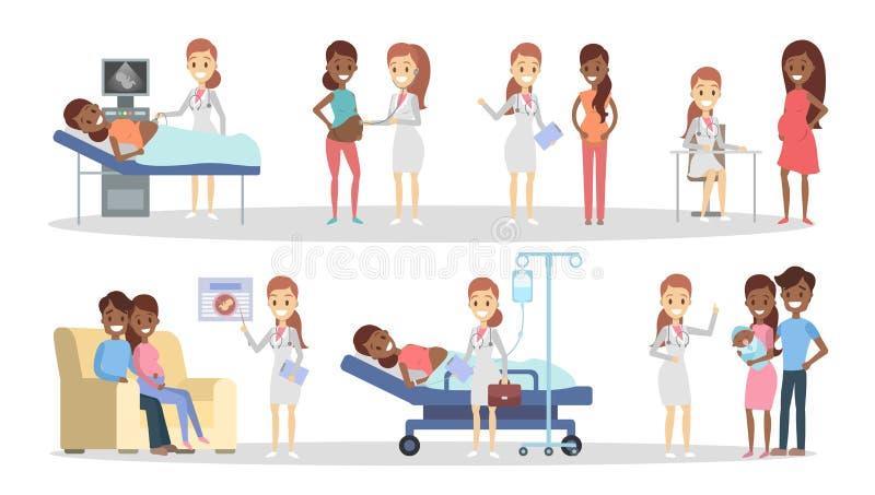 Zwangerschap bij kliniek vector illustratie