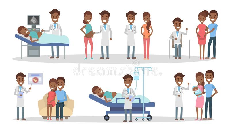 Zwangerschap bij kliniek stock illustratie