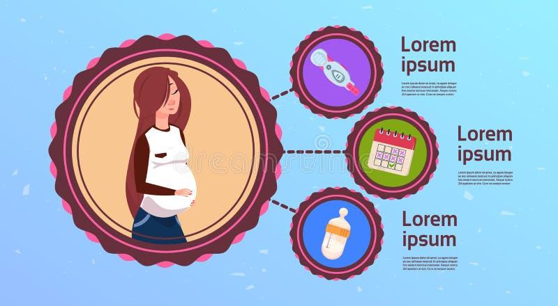 Zwangerschap die Infographic met de Jonge Positieve Test van de Moederholding plannen vector illustratie