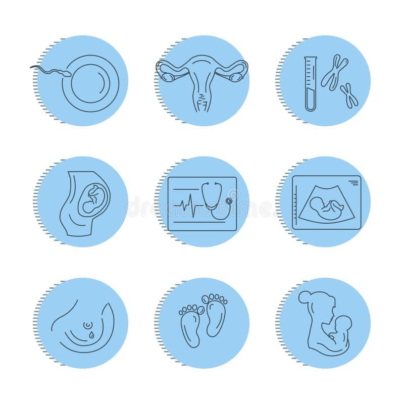 Zwangerschap en bevalling Vectorlijnpictogrammen vector illustratie