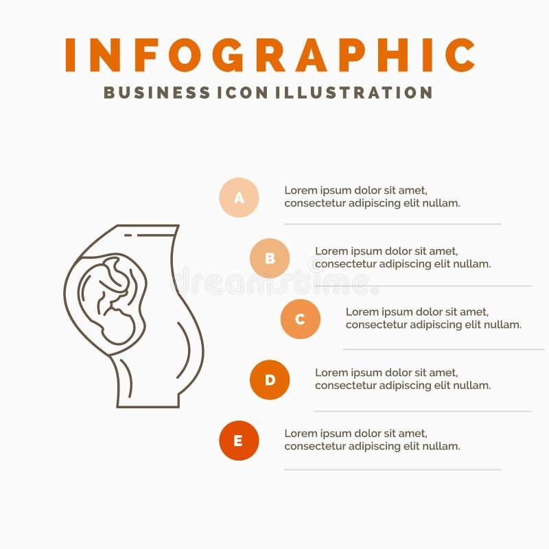 zwangerschap, zwanger, baby, verloskunde, het Malplaatje van Moederinfographics voor Website en Presentatie Lijn Grijs pictogram  royalty-vrije illustratie