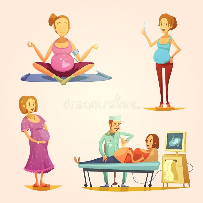 Zwangerschaps Retro Beeldverhaal 4 Geplaatste pictogrammen stock illustratie