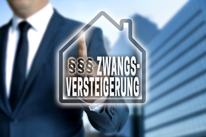 Zwangsversteigerung y x28; en el foreclosure& alemán x29; la pantalla táctil es ópera imagen de archivo libre de regalías