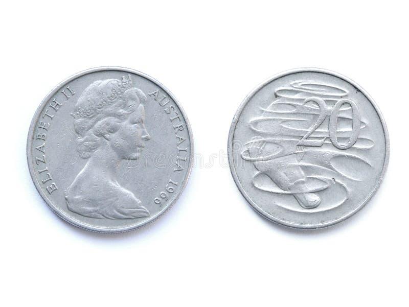 Zwanzig australische Cents 1966 mit Schnabeltier stockfoto