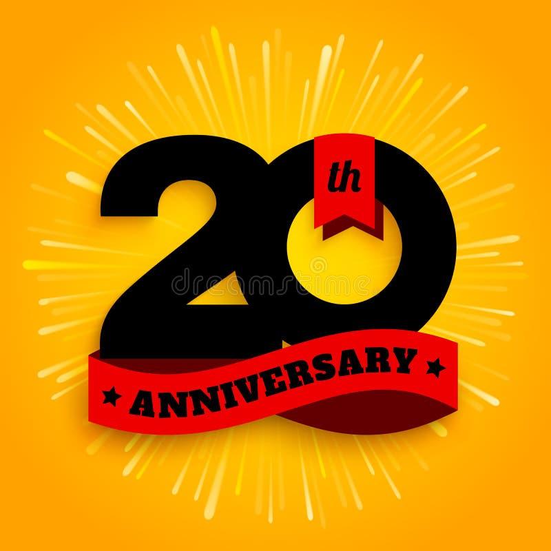 Zwanzig des Jahrestagsjahre Logos mit rotem Band, 20. Jahrfeier Feuerwerke auf gelbem Hintergrund Vektor vektor abbildung