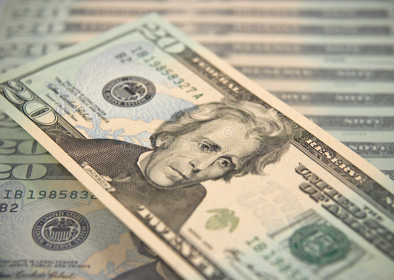 Zwanzig Dollarschein lizenzfreies stockbild